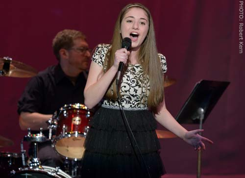 Brigid Harrington singing at Skyline Theatre Company's Concert of Stars