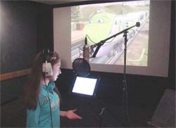 Brigid Harrington in the studio recording Chuggington